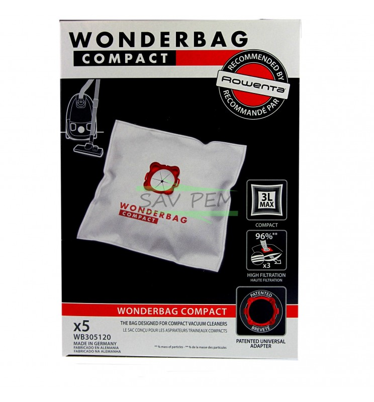 sacs wonderbag wb305120 compact pour aspirateur moulinex et rowenta. Black Bedroom Furniture Sets. Home Design Ideas