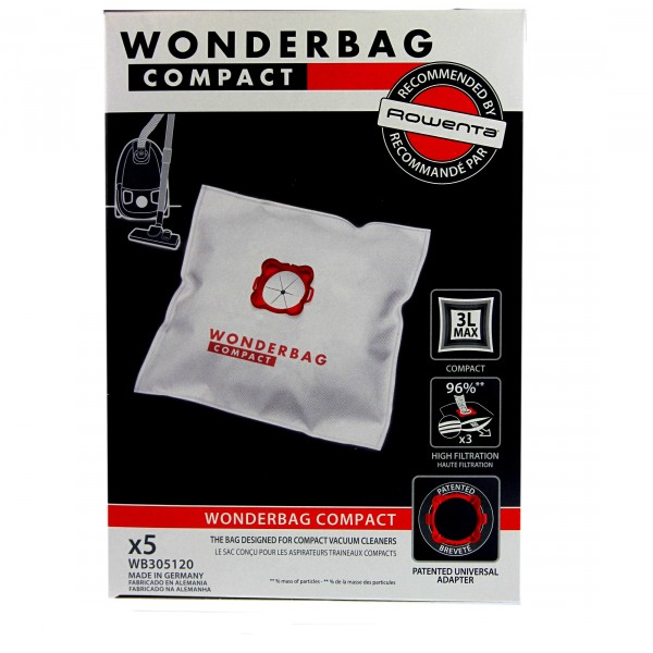 sacs wonderbag wb305120 compact pour aspirateur moulinex et rowenta. Black Bedroom Furniture Sets. Home Design Ideas