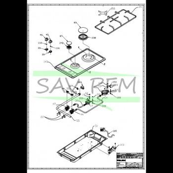 Reducteur de grille plaque de cuisson GLEM GT32GWH