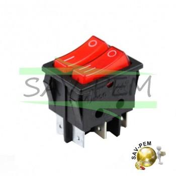 Interrupteur double, coloris rouge, 16A