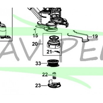 Support bobine pour BLACK & DECKER GLC3630L, STC1820, STC1820D, STC1820PC