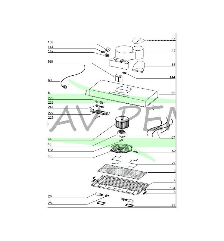 Filtre à graisse Z03301014 pour hotte AIRLUX, GLEM GHF62SI