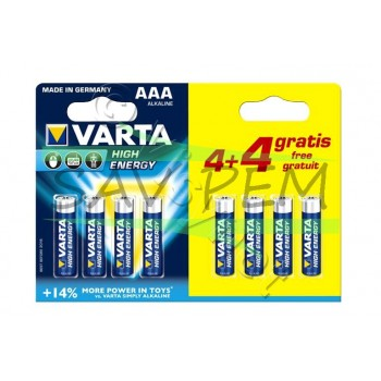 PACK PROMO 4 piles + 4 gratuite LR03 VARTA