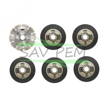 Kit 6 disques pour meuleuse diamètre 125mm