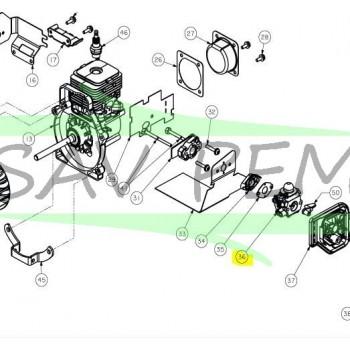 Carburateur souffleur HOMELITE HBC26SB, HBC26SBS, HBC26SJ, HBC26SJS, HBL26BP