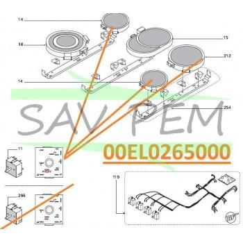 Commutateur de puissance Z00EL0265000 cuisinières GLEM AX96VCEIX, XCU92C