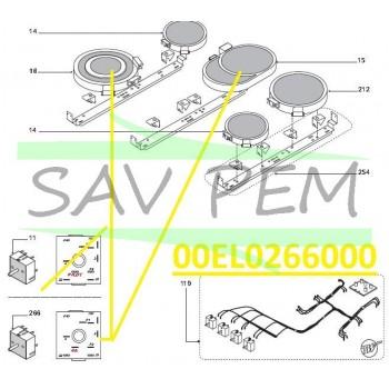 Commutateur de puissance Z00EL0266000 cuisinières GLEM AX96VCEIX, XCU92C