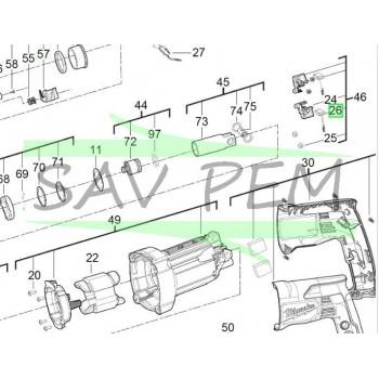 Balai moteur (X1) perforateurs MILWAUKEE modèles PH27 - PH27X