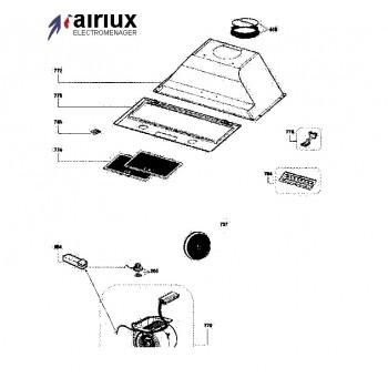 Ensemble moteur et clavier hotte AIRLUX HG38