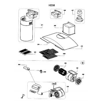 Moteur et Clavier pour hotte AIRLUX HD38A - HD38C - HD38H